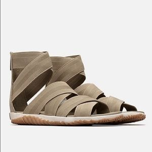 Sorel Out & About Plus Elastic Strappy Sandals NIB